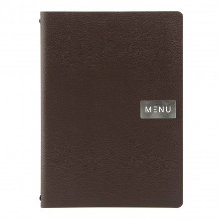 Protège-menu A4 100% cuir écologique BROWN RAW