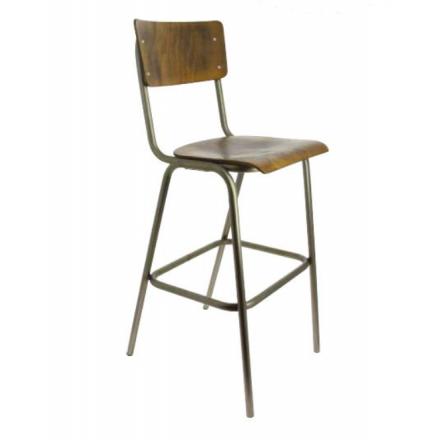 Chaise de restaurant vintage en acier et bois