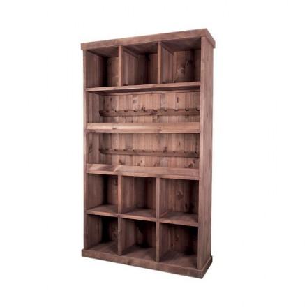 Meuble de présentation 9 cases + 2 étagères à bouteilles
