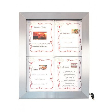 Porte-menu lumineux INOX 4xA4