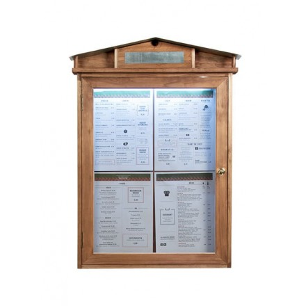 Porte-menu lumineux RUSTIC 4xA4 sur pied Securit