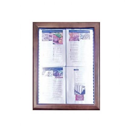 Porte-menu lumineux CLASSIC MARRON 4xA4 SECURIT Porte-menus lumineux