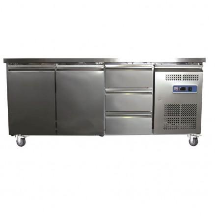 Table réfrigérée centrale 2 portes + 3 tiroirs GN3130TN