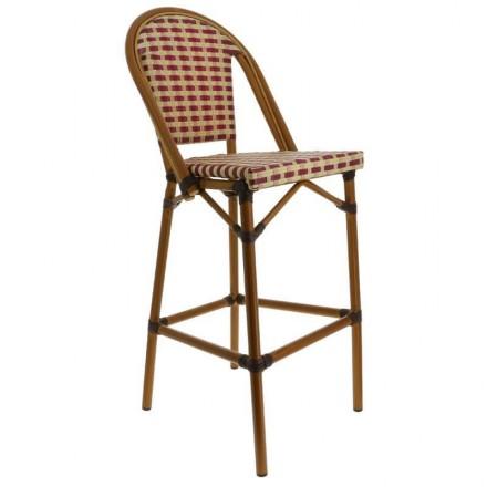 Chaise haute PARIS bicolore beige et bordeaux
