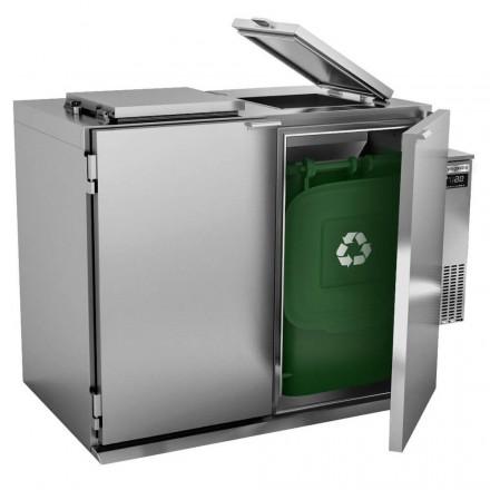 Refroidisseur humide à déchets - 2x120L  Poubelles inox