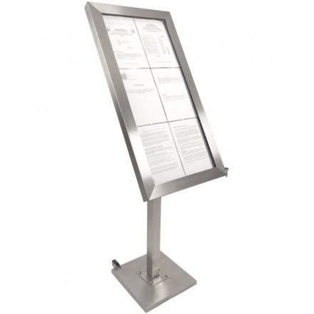 Porte menu LED sur pied 6xA4 inox brossé