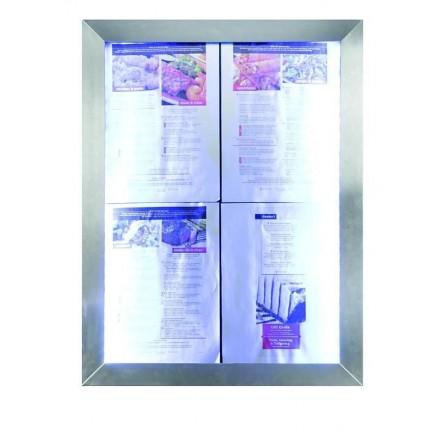 Porte menu lumineux CLASSIC INOX 4xA4 sur pied SECURIT Porte-menus lumineux