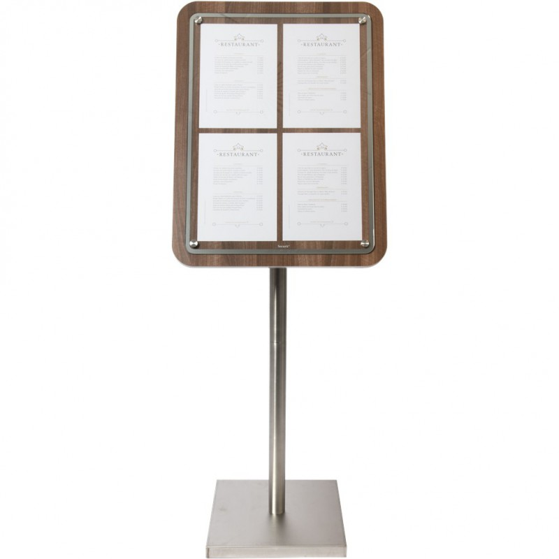 Porte menu GLASS STAR NOYER 4xA4 sur pied