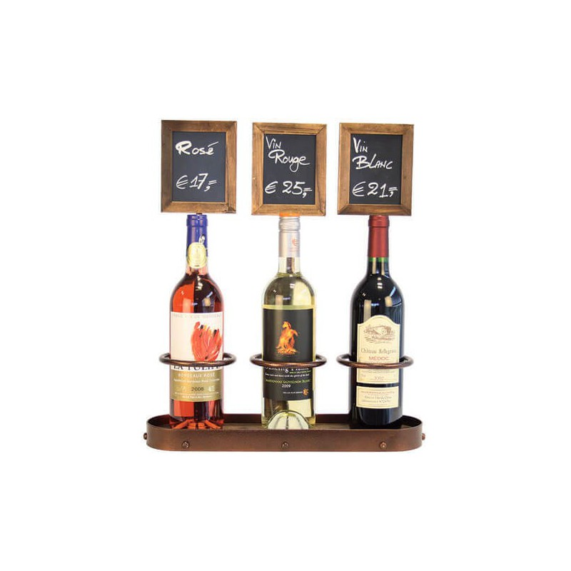 Présentoir 3 bouteilles de vin