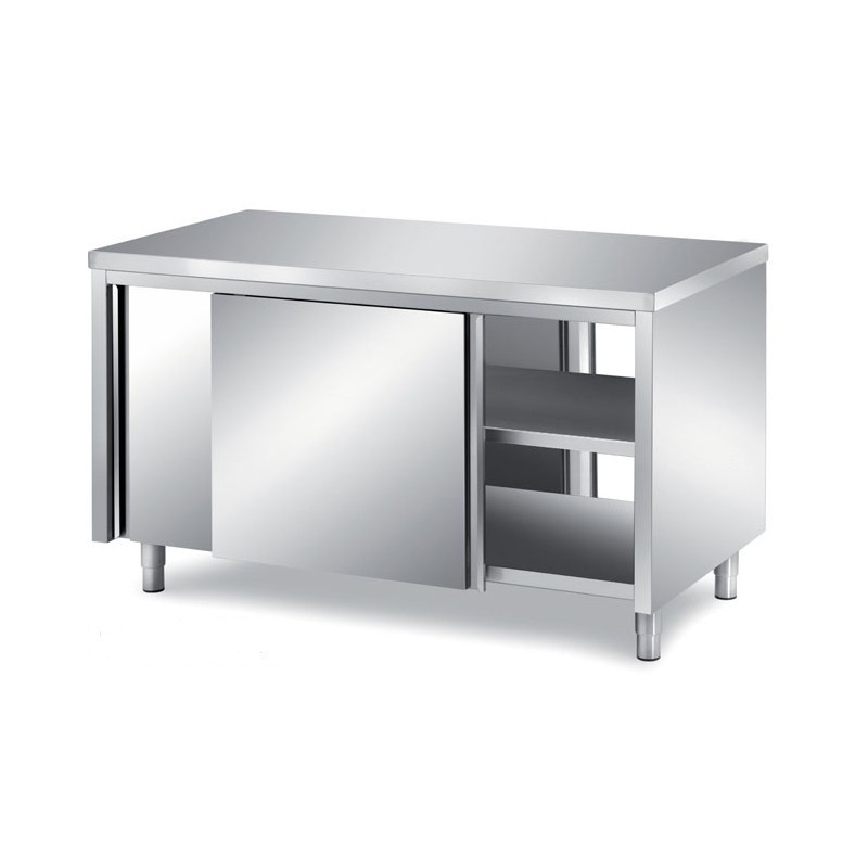 Meuble bas traversant inox P700mm