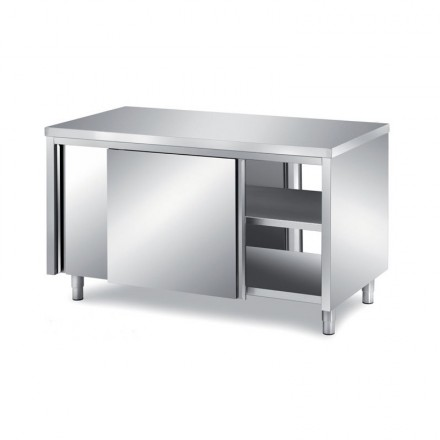 Meuble bas traversant en inox P800mm
