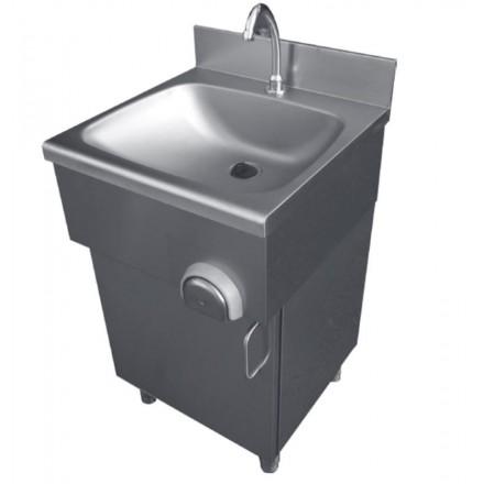 Lave-mains inox à commande fémorale sur placard