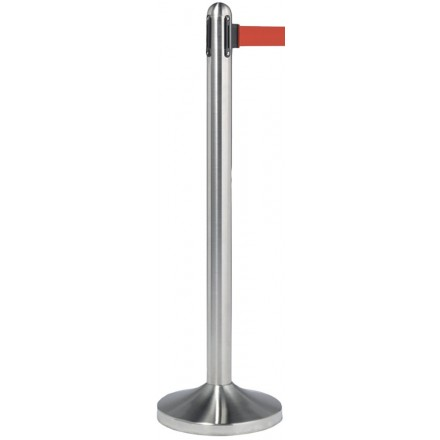 Poteau d'accueil à corde rétractable INOX 4 coloris