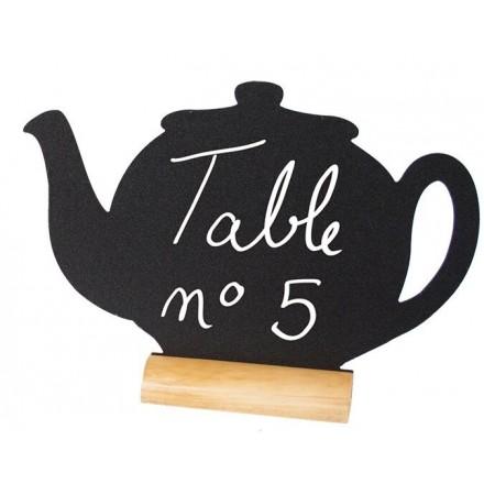 """Ardoise de table """"théière"""" avec socle en bois SECURIT"""