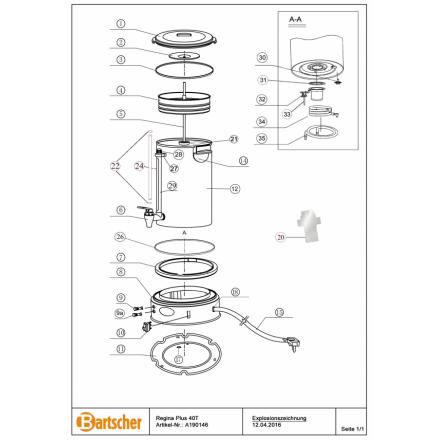 A0ND051 - Plaque inférieure pour percolateur BARTSCHER