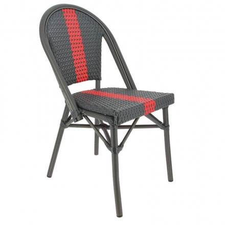 Chaise DIEPPE gris/rouge