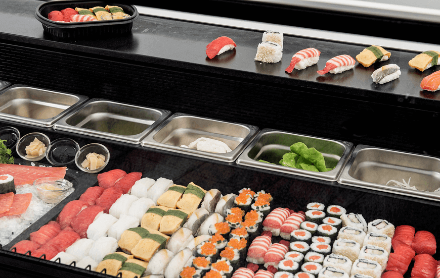 Meubles de préparation et vitrines à sushis